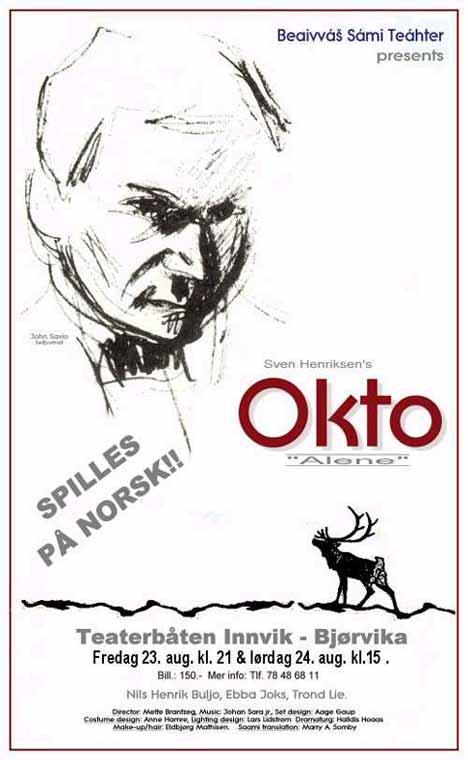 Plakat for skuespillet Okto av Beaivvás Sámi Teáhter