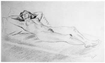 Hvilende akt (tegning) - John Andreas Savio