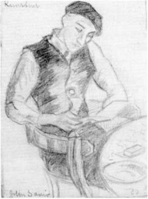 Kunstner (tegning) - John Andreas Savio