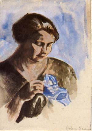 Kvinne med blå duk - John Andreas Savio